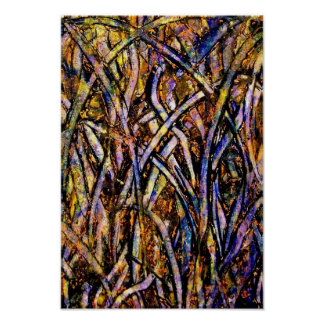 Carnival Glass Grass With Orange Mold Fungus 2005. Poster
