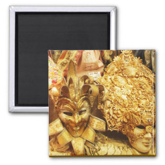 Carnival Gold Jester Mask Mardi Gras 2 Inch Square Magnet