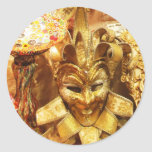Carnival Gold Jester Mask Mardi Gras Classic Round Sticker