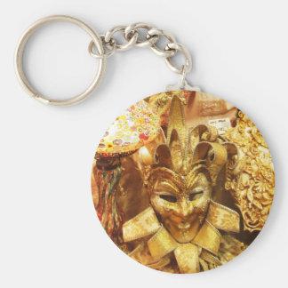 Carnival Gold Jester Mask Mardi Gras Keychain