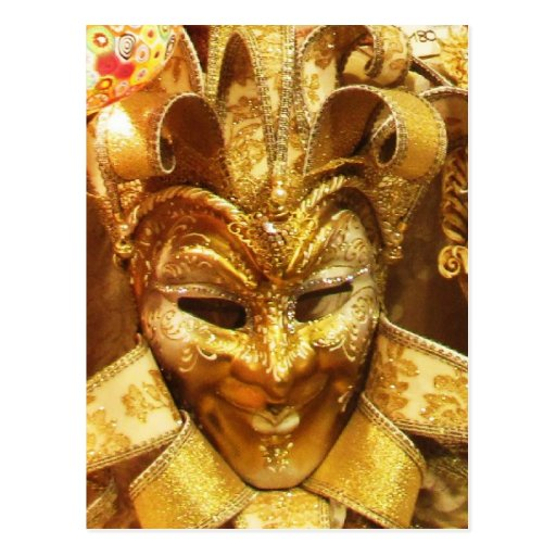 Carnival Gold Jester Mask Mardi Gras Postcard
