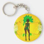carnival green girl.ai basic round button keychain