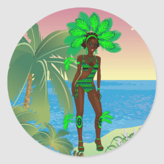 carnival green girl.ai classic round sticker
