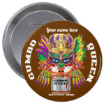 Carnival Gumbo Queen View Hints please Pinback Button