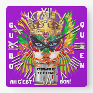 Carnival Gumbo Queen View Hints please Square Wall Clocks