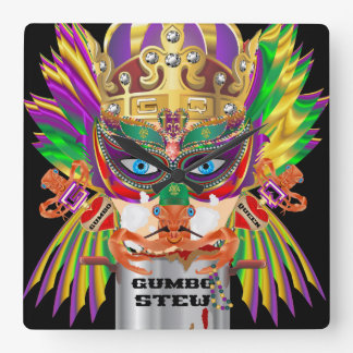 Carnival Gumbo Queen View Hints please Square Wall Clock