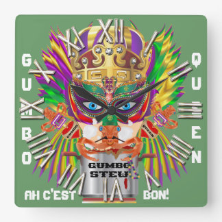 Carnival Gumbo Queen View Hints please Square Wallclocks