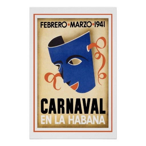 Carnival in Havana Vintage Travel Poster