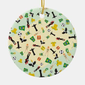 Carnival in Rio Flag of Brazil Ceramic Ornament