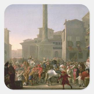 Carnival in Rome, c.1650-51 Square Sticker