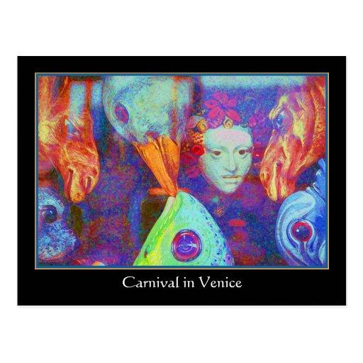 Carnival in Venice - Colorful Carnival Masks Post Card