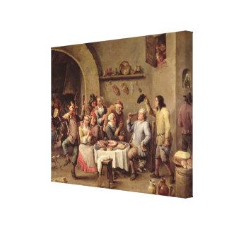 Carnival: 'Le Roi Boit', 1690 (oil on copper) Canvas Print