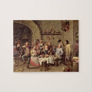 Carnival: 'Le Roi Boit', 1690 (oil on copper) Jigsaw Puzzle