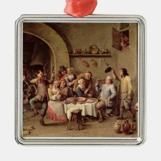 Carnival: 'Le Roi Boit', 1690 (oil on copper) Metal Ornament