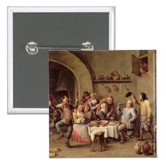 Carnival: 'Le Roi Boit', 1690 (oil on copper) Pinback Button
