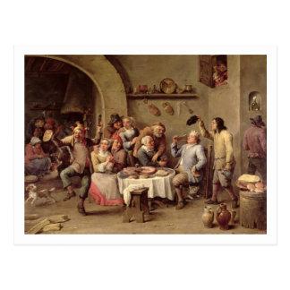 Carnival: 'Le Roi Boit', 1690 (oil on copper) Postcard