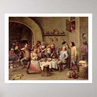 Carnival: 'Le Roi Boit', 1690 (oil on copper) Poster