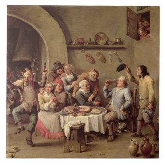 Carnival: 'Le Roi Boit', 1690 (oil on copper) Tile