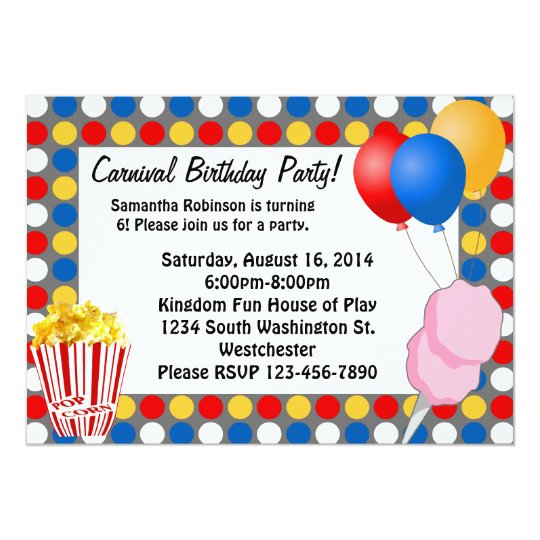Carnival Lights and Snacks Custom Invitations