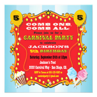 Carnival Marquee Birthday Party Invitations