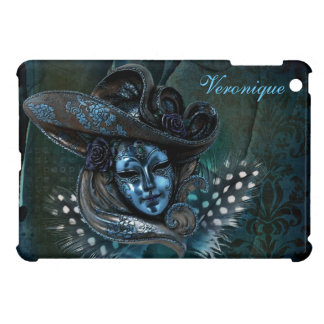 Carnival Mask-Blue Damask iPad Mini case