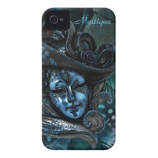 Carnival Mask - Blue Damask iPhone 4 Case