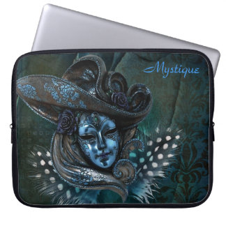 Carnival Mask - Blue Damask Laptop Sleeve