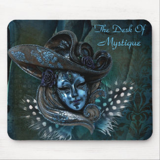 Carnival Mask - Blue Damask Mousepad