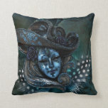 Carnival Mask-Blue Damask Throw Pillow
