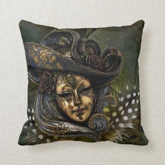 Carnival Mask -Golden Masquerade Throw Pillows
