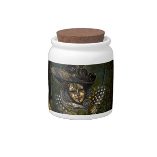 Carnival Mask-Green Damask Candy Jar