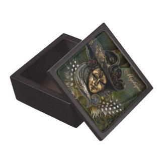 Carnival Mask-Green Damask Gift Box *Personalize*