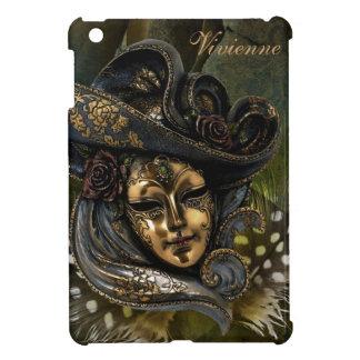 Carnival Mask-Green Damask iPad Mini Case