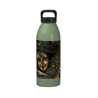 Carnival Mask-Green Damask Water Bottle
