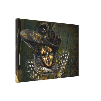 Carnival Mask-Green Damask Wrapped Canvas