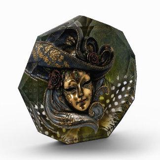 Carnival Mask-Green N Gold Damask Acrylic Photo Award