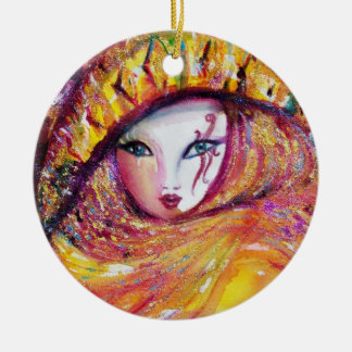 CARNIVAL MASK IN GOLD YELLOW WITH RED ROSE CHRISTMAS TREE ORNAMENT