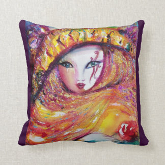 CARNIVAL MASK IN GOLD YELLOW WITH RED ROSE THROW PILLOW