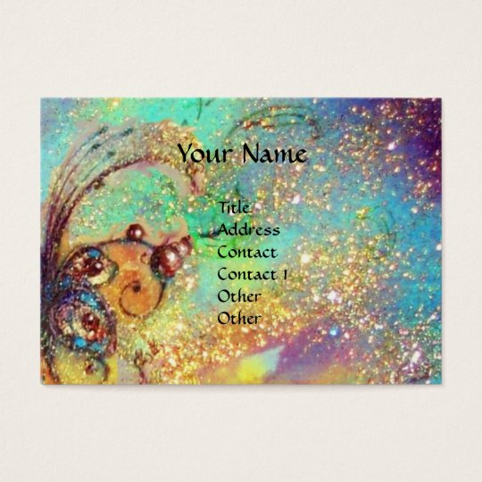 CARNIVAL MASK IN YELLOW / BLUE GREEN GOLD SPARKLES BUSINESS CARD