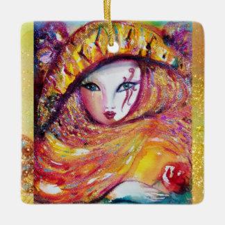 CARNIVAL MASK IN YELLOW Masquerade Party Ceramic Ornament