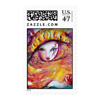 CARNIVAL MASK IN YELLOW WITH RED ROSE POSTAGE STAMP