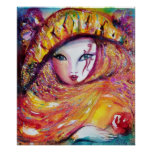 CARNIVAL MASK IN YELLOW WITH RED ROSE POSTER