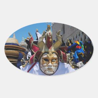 Carnival mask Oval Sticker