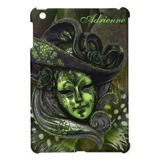 Carnival Mask-Peridot/Olive Damask iPad Mini Case