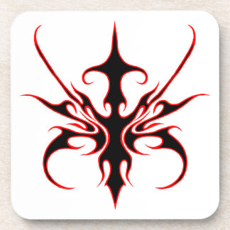 Carnival Mask Tribal Tattoo - black and red Beverage Coaster