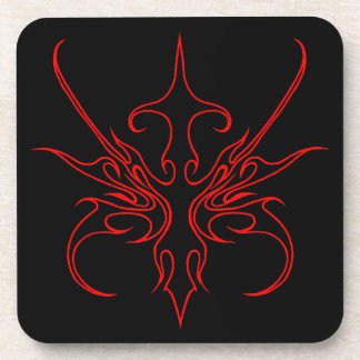 Carnival Mask Tribal Tattoo - black and red Coaster