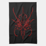 Carnival Mask Tribal Tattoo black and red on black Towels
