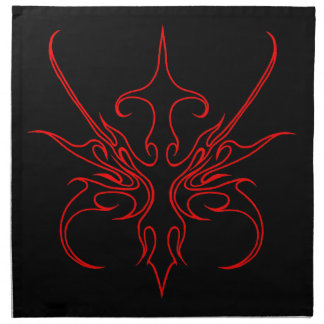 Carnival Mask Tribal Tattoo black and red on black Napkin