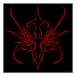 Carnival Mask Tribal Tattoo black and red on black Posters