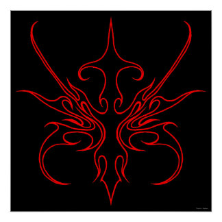 Carnival Mask Tribal Tattoo black and red on black Poster